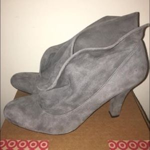 Enzo Angiolini grey suede ankle booties